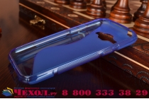 Фирменная ультра-тонкая полимерная из мягкого качественного силикона задняя панель-чехол-накладка для Samsung Galaxy J1 SM-J100H/F/DS синяя