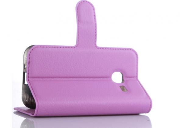 Фирменный чехол-книжка для Samsung Galaxy J1 mini SM-J105F/H / J1 Mini 2016 4.0 с визитницей и мультиподставкой фиолетовый кожаный