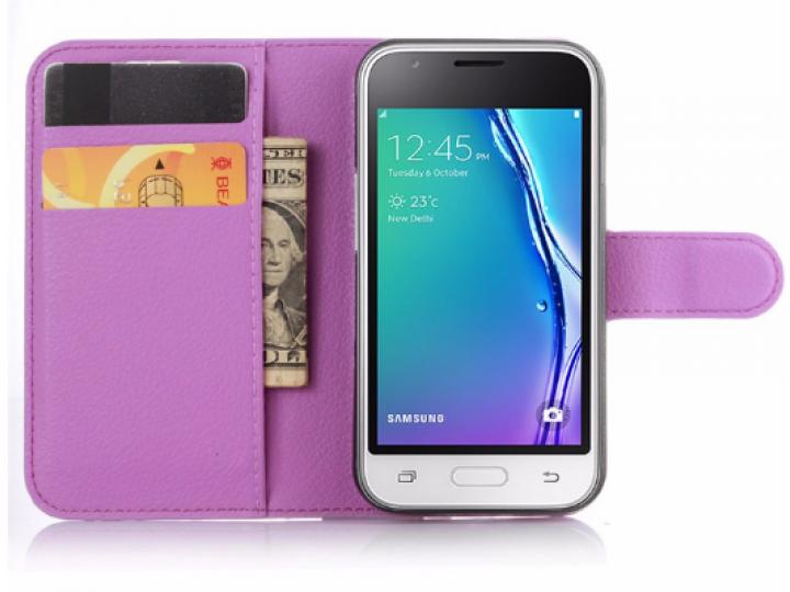Фирменный чехол-книжка для Samsung Galaxy J1 mini SM-J105F/H / J1 Mini 2016 4.0 с визитницей и мультиподставко..