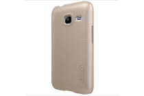 Фирменная задняя панель-крышка-накладка из тончайшего и прочного пластика для Samsung Galaxy J1 mini SM-J105F/H / J1 Mini 2016 4.0 золотая