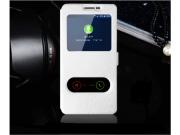 Фирменный чехол-книжка для Samsung Galaxy J1 mini SM-J105F/H / J1 Mini 2016 4.0 белый с окошком для входящих в..