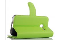 Фирменный чехол-книжка для Samsung Galaxy J1 mini SM-J105F/H / J1 Mini 2016 4.0 с визитницей и мультиподставкой зелёный кожаный