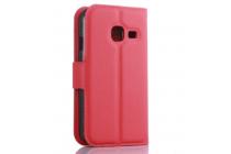 Фирменный чехол-книжка для Samsung Galaxy J1 mini SM-J105F/H / J1 Mini 2016 4.0 с визитницей и мультиподставкой красный кожаный