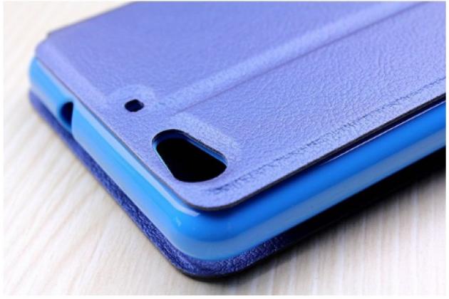 Фирменный оригинальный чехол-книжка дляSamsung Galaxy J1 mini SM-J105F/H / J1 Mini 2016 4.0 синий с окошком для входящих вызовов водоотталкивающий
