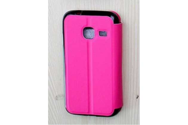Фирменный оригинальный чехол-книжка дляSamsung Galaxy J1 mini SM-J105F/H / J1 Mini 2016 4.0 розовый с окошком для входящих вызовов водоотталкивающий