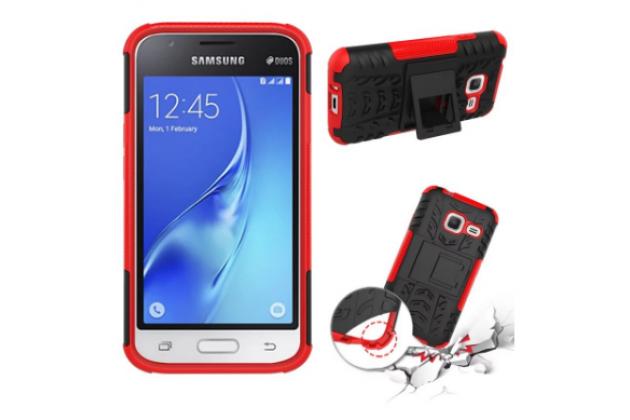 Противоударный усиленный ударопрочный фирменный чехол-бампер-пенал для Samsung Galaxy J1 mini SM-J105F/H / J1 Mini 2016 4.0 красный
