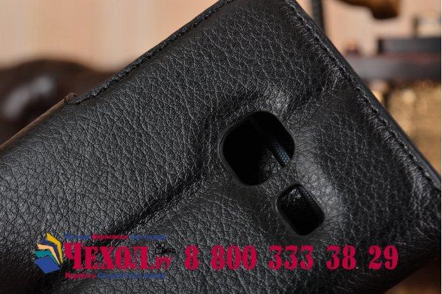 Фирменный чехол-книжка для  Samsung Galaxy J1 2016 SM-J120F/H DuoS  с визитницей и мультиподставкой черный кожаный