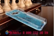 Фирменная роскошная элитная пластиковая задняя панель-накладка украшенная стразами кристалликами со втроенным АКВАРИУМОМ для Samsung Galaxy J1 синяя