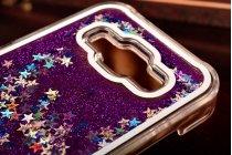 Фирменная роскошная элитная пластиковая задняя панель-накладка украшенная стразами кристалликами со втроенным АКВАРИУМОМ для Samsung Galaxy J1 фиолетовая