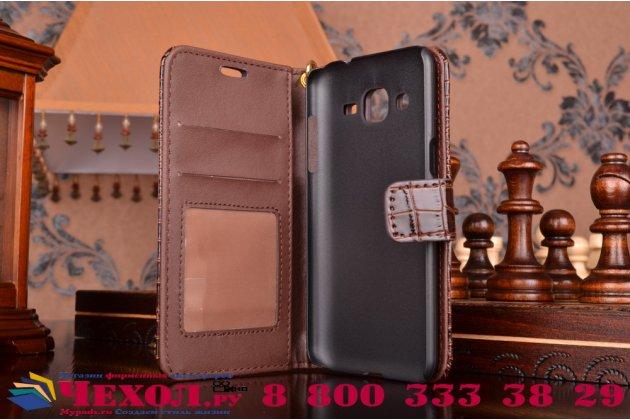 Фирменный чехол-книжка с подставкой для Samsung Galaxy J2 SM-J200H/DS /J200F/ J200G 4.7 лаковая кожа крокодила коричневый