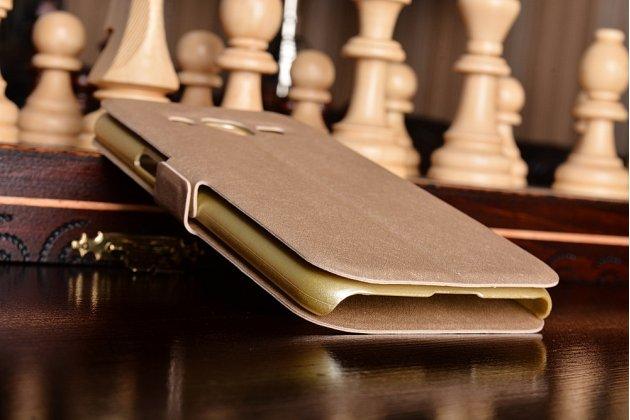 Фирменный чехол-книжка  с окошком для входящих вызовов и свайпом  для Samsung Galaxy J2 SM-J200H/DS /J200F/ J200G 4.7 водоотталкивающий золотой