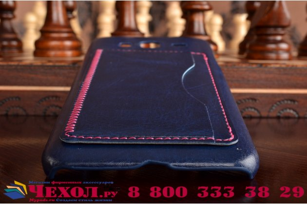 """Фирменная роскошная элитная премиальная задняя панель-крышка для Samsung Galaxy J3 J300/ J3109 (5.0"""")  из качественной кожи буйвола с визитницей синий"""