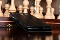 """Фирменный чехол-книжка для Samsung Galaxy J3 (2016) SM-J320F/DS/J320H/DS 5.0"""" черный с окошком для входящих вызовов и свайпом водоотталкивающий"""