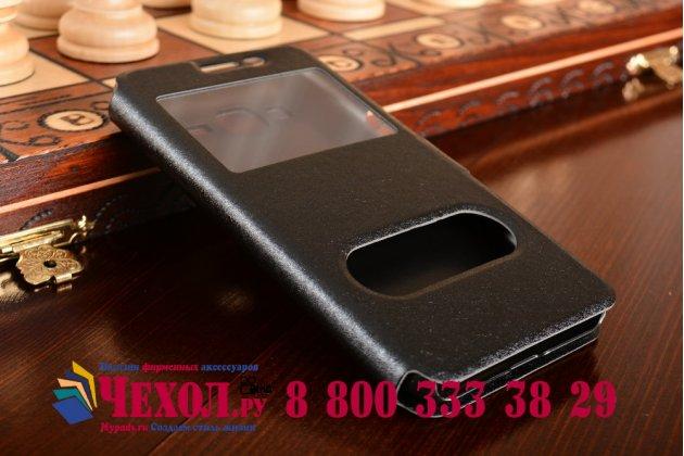 """Фирменный чехол-книжка для Samsung Galaxy J3 J300/ J3109 (5.0"""") черный с окошком для входящих вызовов и свайпом водоотталкивающий"""