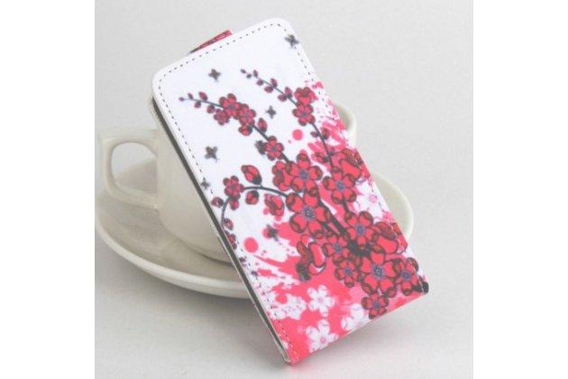 """Фирменный уникальный необычный флип для Samsung Galaxy J3 J300/ J3109 (5.0"""") """"тематика цветок Сакуры"""""""