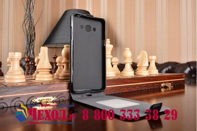 """Фирменный вертикальный откидной чехол-флип для Samsung Galaxy J3 (2016) SM-J320F/DS/J320H/DS 5.0"""" черный кожаный"""