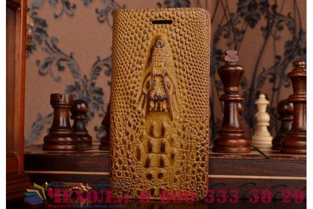 """Фирменный роскошный эксклюзивный чехол с объёмным 3D изображением кожи крокодила коричневый для Samsung Galaxy J3 J300/ J3109 (5.0"""")  . Только в нашем магазине. Количество ограничено"""