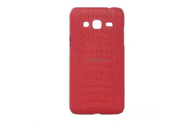 """Элитная задняя панель-крышка премиум-класса из тончайшего и прочного пластика обтянутого кожей крокодила для Samsung Galaxy J3 J300/ J3109 (5.0"""") красный"""
