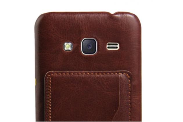 """Фирменная роскошная элитная премиальная задняя панель-крышка для Samsung Galaxy J3 J300/ J3109 (5.0"""")  из качественной кожи буйвола с визитницей коричневый"""