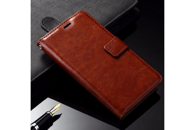 """Фирменный чехол-книжка из качественной импортной кожи с мульти-подставкой застёжкой и визитницей для Samsung Galaxy J3 J300/ J3109 (5.0"""") коричневый"""