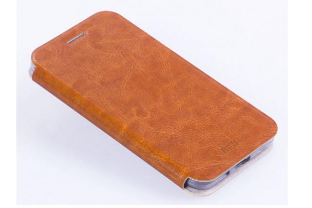 """Фирменный чехол-книжка из качественной водоотталкивающей импортной кожи на жёсткой металлической основе для Samsung Galaxy J3 J300/ J3109 (5.0"""") коричневый"""