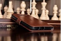 Фирменный чехол-книжка из качественной импортной кожи с мульти-подставкой застёжкой и визитницей для Samsung Galaxy J5 2016 SM-J510H/DS/ J510F/DS коричневый
