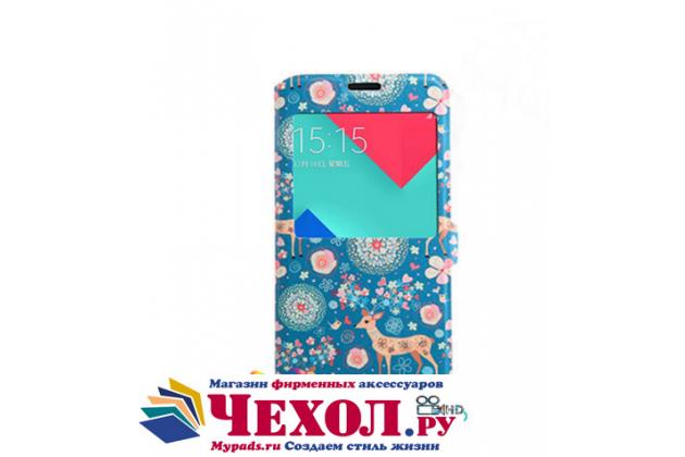 Фирменный чехол-книжка с безумно красивым расписным рисунком Оленя в цветах на Samsung Galaxy J5 2016 SM-J510H/DS/ J510F/DS с окошком для звонков