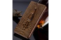 Фирменный роскошный эксклюзивный чехол с объёмным 3D изображением кожи крокодила коричневый для Samsung Galaxy J5 2016 SM-J510H/DS/ J510F/DS. Только в нашем магазине. Количество ограничено