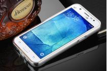 Фирменная металлическая задняя панель-крышка-накладка из тончайшего облегченного авиационного алюминия для Samsung Galaxy J5 2016 SM-J510H/DS/ J510F/DS серебристая