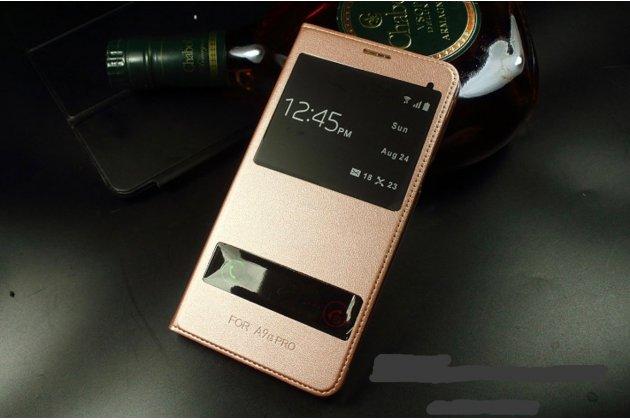 Фирменный чехол-книжка для Samsung Galaxy J5 2016 SM-J510H/DS/ J510F/DS розовое золото с окошком для входящих вызовов и свайпом водоотталкивающий