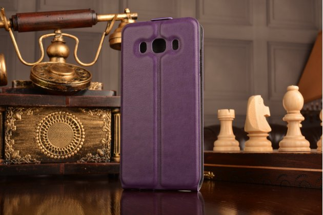Фирменный вертикальный откидной ультра-тонкий чехол-флип для Samsung Galaxy J5 2016 SM-J510H/DS/ J510F/DS фиолетовый