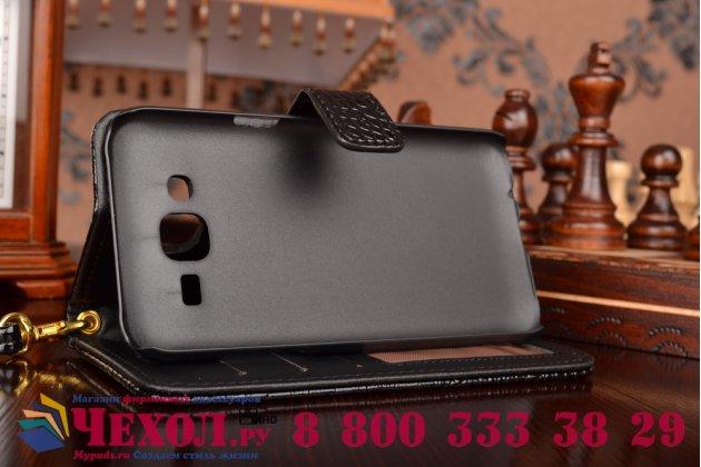 Фирменный чехол-книжка с подставкой для Samsung Galaxy J5 SM-J500F/DS/Dual Sim/Duos лаковая кожа крокодила цвет черный