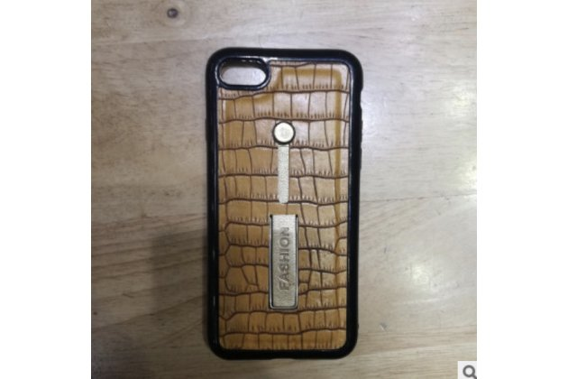 Фирменная роскошная элитная премиальная задняя панель-крышка для Samsung Galaxy J5 SM-J500F/DS/Dual Sim/Duos из качественной кожи крокодила с визитницей коричневый