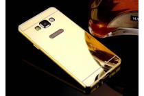 Фирменная металлическая задняя панель-крышка-накладка из тончайшего облегченного авиационного алюминия для Samsung Galaxy J5 SM-J500F/DS/Dual Sim/Duos золотая