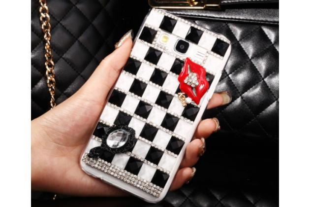 Фирменная роскошная элитная пластиковая задняя панель-накладка украшенная стразами кристалликами и декорированная элементами для Samsung Galaxy J5 SM-J500F/DS/Dual Sim/Duos черно-белая