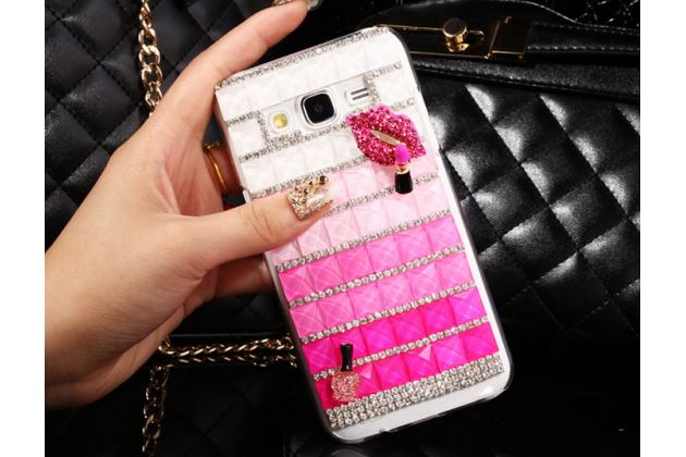 Фирменная роскошная элитная пластиковая задняя панель-накладка украшенная стразами кристалликами и декорированная элементами для Samsung Galaxy J5 SM-J500F/DS/Dual Sim/Duos розовая