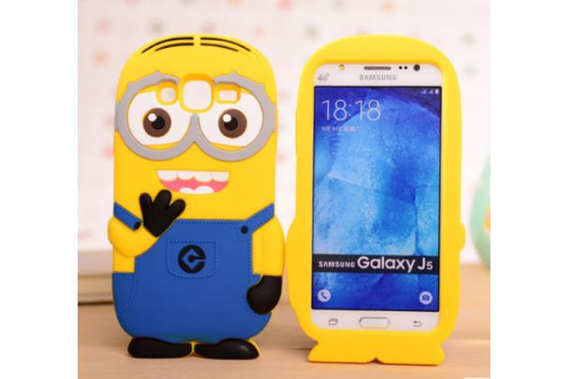 """Фирменная задняя панель-чехол-накладка с объёмным 3D изображением для Samsung Galaxy J5 SM-J500F/DS/Dual Sim/Duos """"тематика веселый Миньон"""" желтая"""