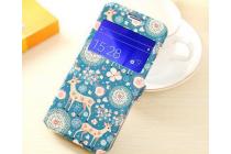 Фирменный чехол-книжка с безумно красивым расписным рисунком Оленя в цветах на Samsung Galaxy J5 SM-J500F/DS/Dual Sim/Duos с окошком для звонков