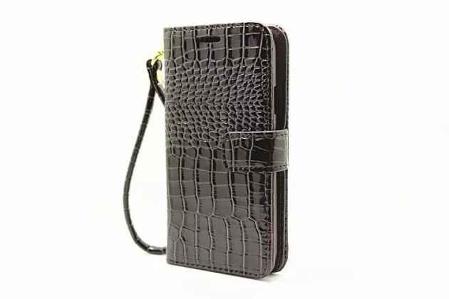 """Фирменный чехол-книжка с подставкой для Samsung Galaxy J7 2016 SM-J710x/ J710F 5.5"""" лаковая кожа крокодила черный"""