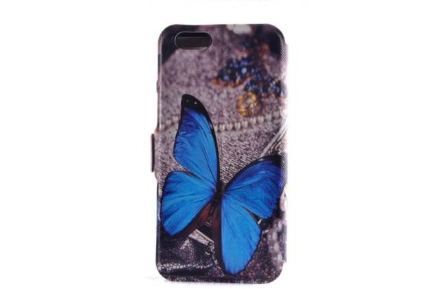"""Фирменный чехол-книжка с безумно красивым расписным рисунком Бабочки на  Samsung Galaxy J7 2016 SM-J710x/ J710F 5.5""""  с окошком для звонков"""