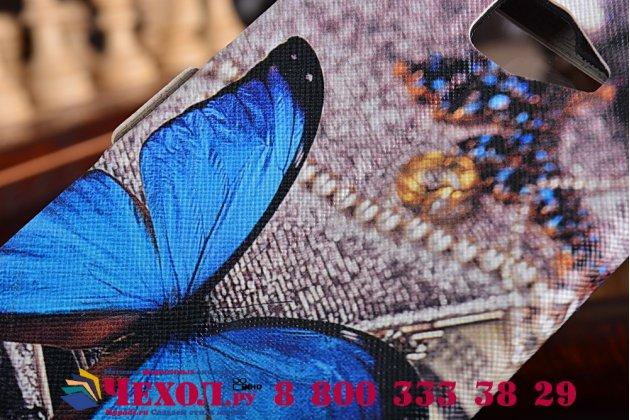 Фирменный чехол-книжка с безумно красивым расписным рисунком Бабочки на  Samsung Galaxy A7 2016 / A7100 / A710F / A7+ 5.5  с окошком для звонков