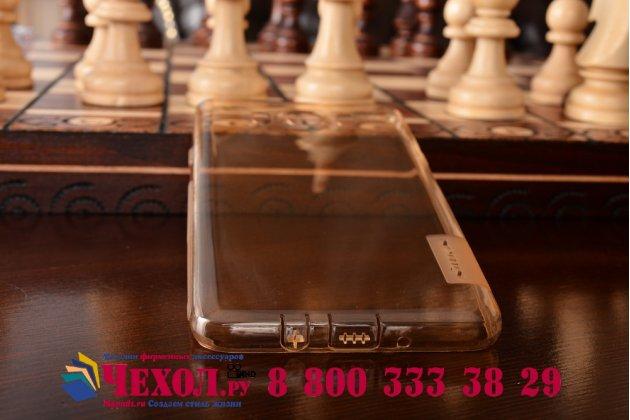 """Фирменная ультра-тонкая полимерная из мягкого качественного силикона задняя панель-чехол-накладка для Samsung Galaxy J7 2016 SM-J710x/ J710F 5.5"""" золотая с защитными заглушками"""