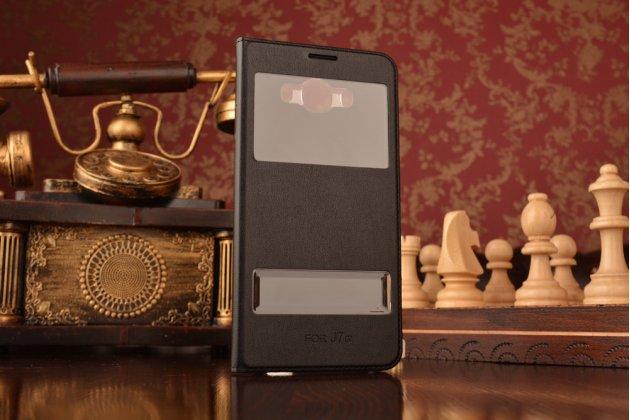 """Фирменный чехол-книжка для Samsung Galaxy J7 2016 SM-J710x/ J710F 5.5"""" черный с окошком для входящих вызовов и свайпом водоотталкивающий"""