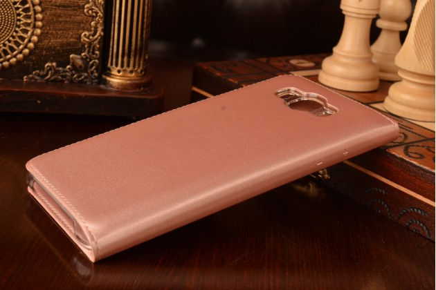 """Фирменный чехол-книжка для Samsung Galaxy J7 2016 SM-J710x/ J710F 5.5"""" розовый с окошком для входящих вызовов и свайпом водоотталкивающий"""