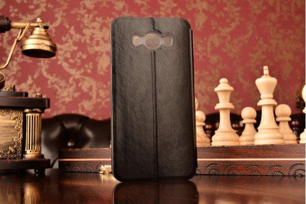 """Фирменный чехол-книжка из качественной водоотталкивающей импортной кожи на жёсткой металлической основе для  Samsung Galaxy J7 2016 SM-J710x/ J710F 5.5""""  черный"""