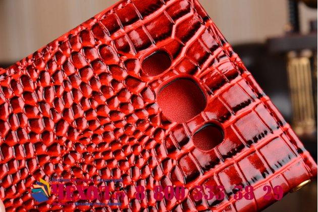 """Фирменный чехол-книжка с подставкой для  Samsung Galaxy J7 2016 SM-J710x/ J710F 5.5""""  лаковая кожа крокодила алый огненный красный"""