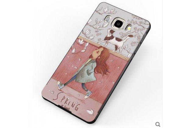 """Фирменная ультра-тонкая силиконовая задняя панель-крышка-накладка  для Samsung Galaxy J7 2016 SM-J710x/ J710F 5.5""""  с 3D объёмным рисунком """"тематика Девочка с котиком"""""""