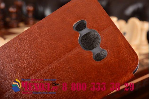 """Фирменный чехол-книжка из качественной водоотталкивающей импортной кожи на жёсткой металлической основе для Samsung Galaxy J7 2016 SM-J710x/ J710F 5.5"""" коричневый"""