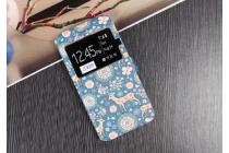 """Фирменный чехол-книжка с безумно красивым расписным рисунком Оленя в цветах на  Samsung Galaxy J7 2016 SM-J710x/ J710F 5.5""""  с окошком для звонков"""