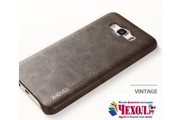 """Фирменная премиальная элитная крышка-накладка из тончайшего прочного пластика и качественной импортной кожи  для Samsung Galaxy J7 2016 SM-J710x/ J710F 5.5""""  """"Ретро под старину"""" коричневый"""